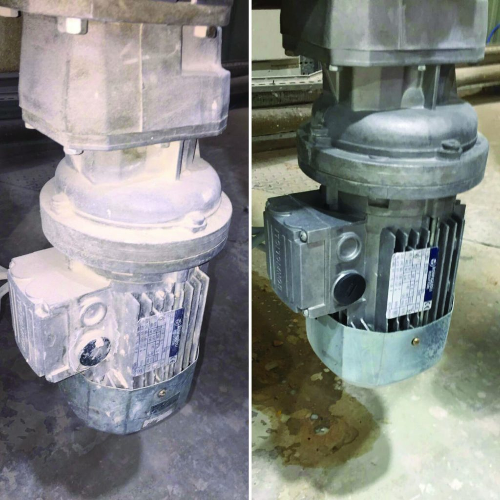 Contaminated Electric motor pictured before and after dry ice cleaning